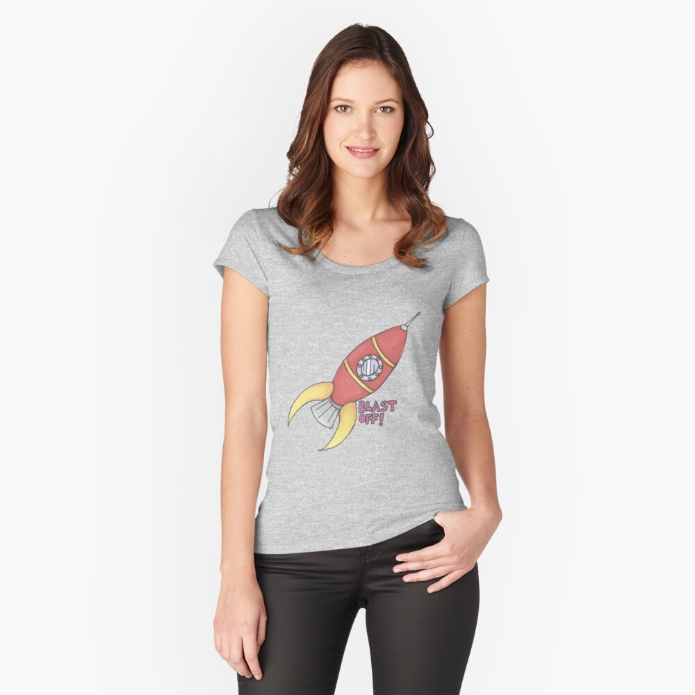 BLAST OFF! Rocket Ship Women's Fitted Scoop T-Shirt Front