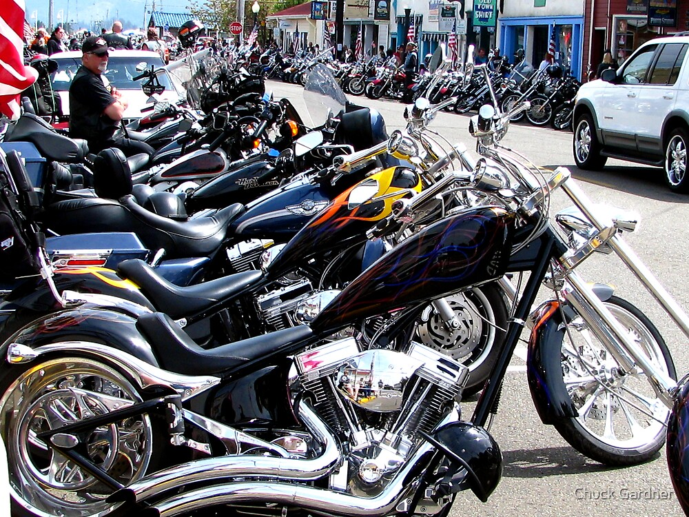 Bikers Arrive In Florence  by Chuck Gardner