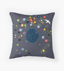 Illustration l'oiseau aux fleurs Throw Pillow