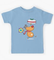 Cute Reindeer with Gift and Cake Kids Clothes