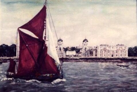 THAMES SAILING BARGE MAY, SAILING PAST GREENWICH NAVAL COLLEGE LONDON by Mackenzie Moulton