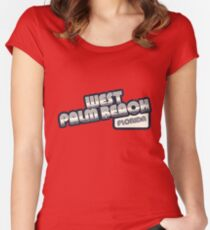 West Palm Beach, Florida | Retro Halftone Women's Fitted Scoop T-Shirt