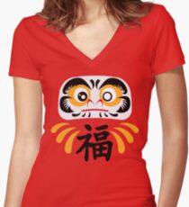 Daruma Doll Women's Fitted V-Neck T-Shirt