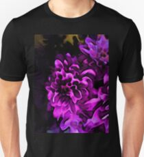 Still Life with a Pink and Lavender Flower on a Black Floor T-Shirt