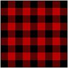 Red and Black Buffalo Plaid Check  by Ann Drake