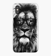 Hipster lion black and white iPhone Case/Skin