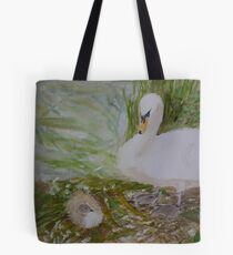 Swan and Cygnet Tote Bag