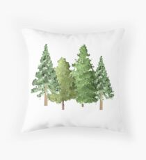 Christmas Winter Evergreen Pine Trees Throw Pillow
