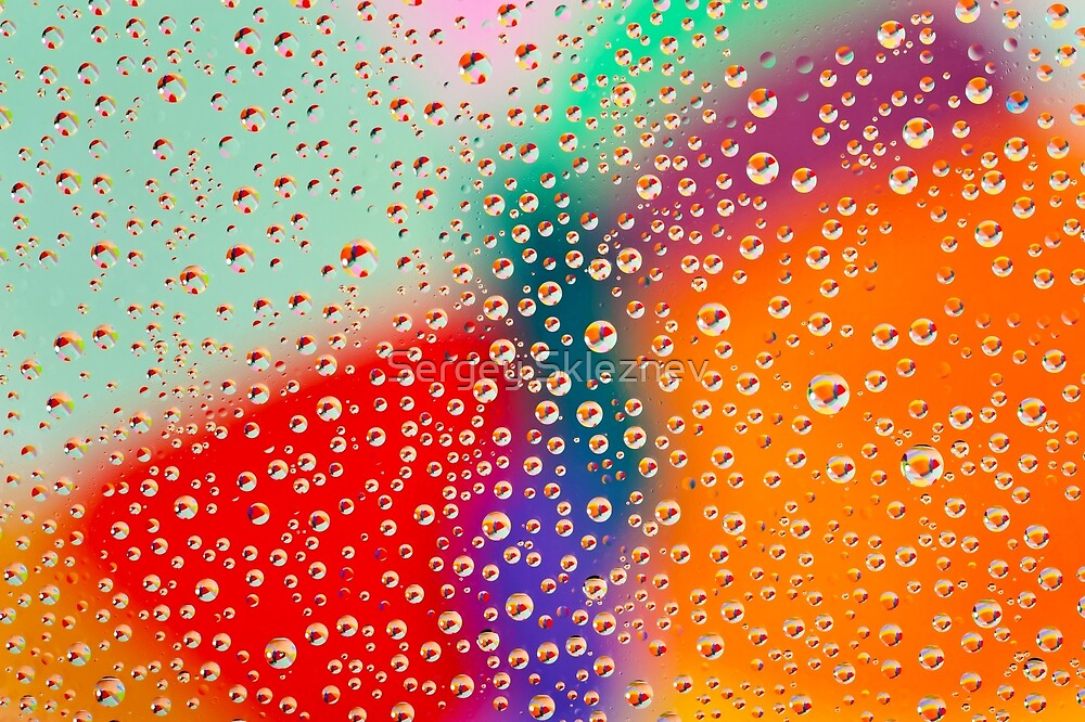 Colorful abstract wallpaper, waterdrops over multicolor background by Sergey Skleznev