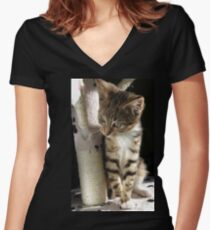 Kitten playing on cat tree Women's Fitted V-Neck T-Shirt