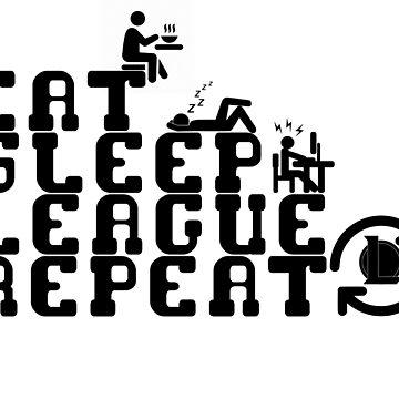 Eat Sleep League Repeat - Black by Sinflow