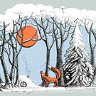 Winter forest landscape with fox and owl. by elinakious