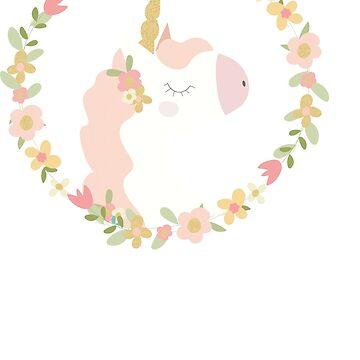 Floral Cute Unicorn  by cutecutedesigns