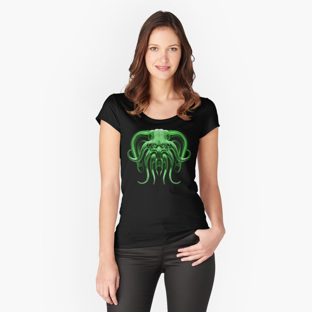 Cthulhu in Green Women's Fitted Scoop T-Shirt Front