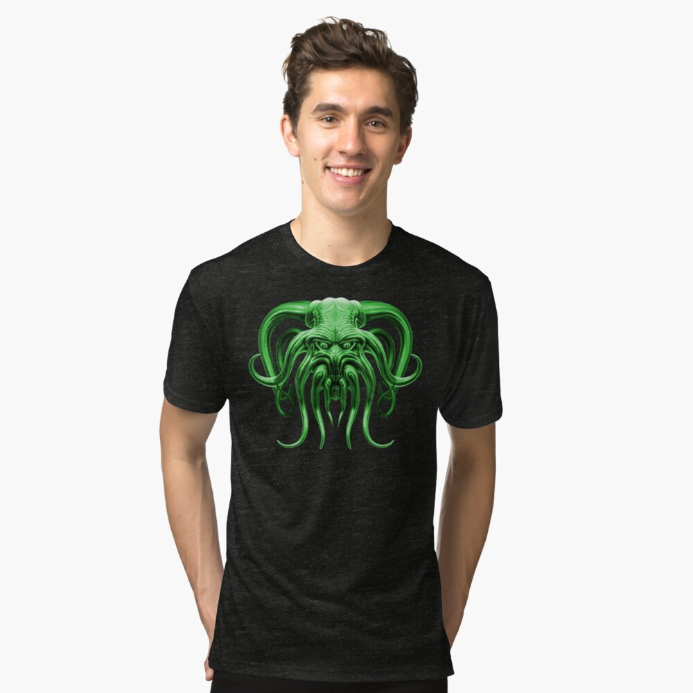Cthulhu in Green Tri-blend T-Shirt