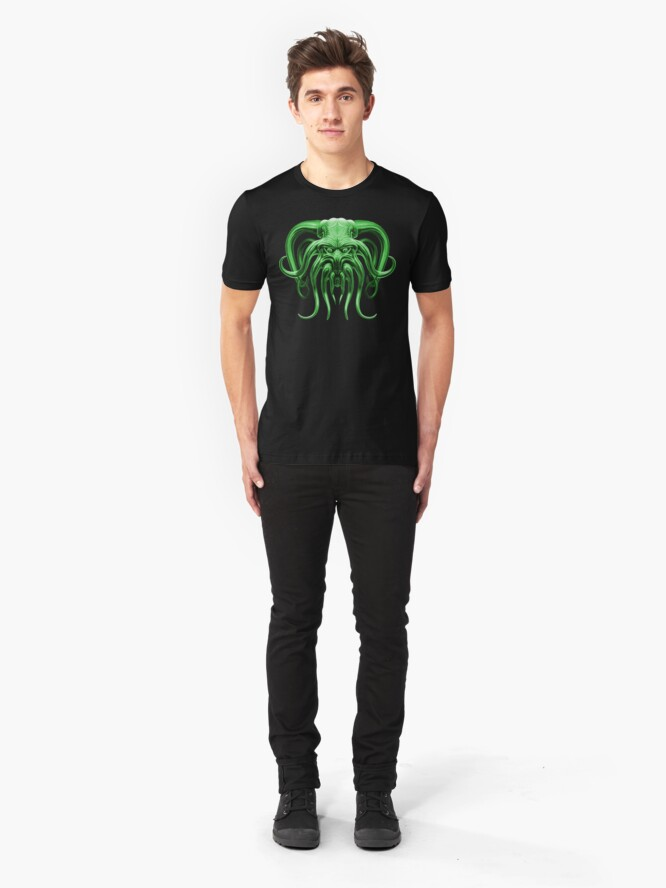 Alternate view of Cthulhu in Green Slim Fit T-Shirt