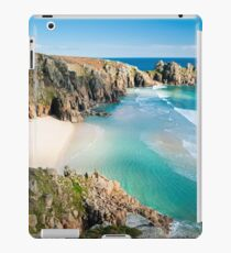 Logan Rock and Pednvounder beach, Porthcurno, Cornwall. iPad Case/Skin