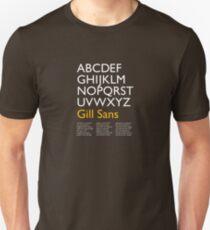 Gill Sans (white) Unisex T-Shirt