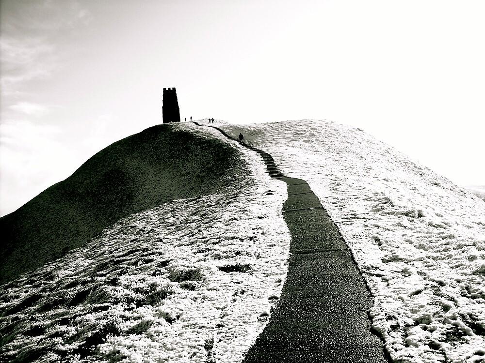 Pathway on Glastonbury Tor,Winter by Amanda Gazidis