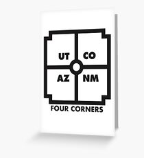 Four Corners - black and white Greeting Card