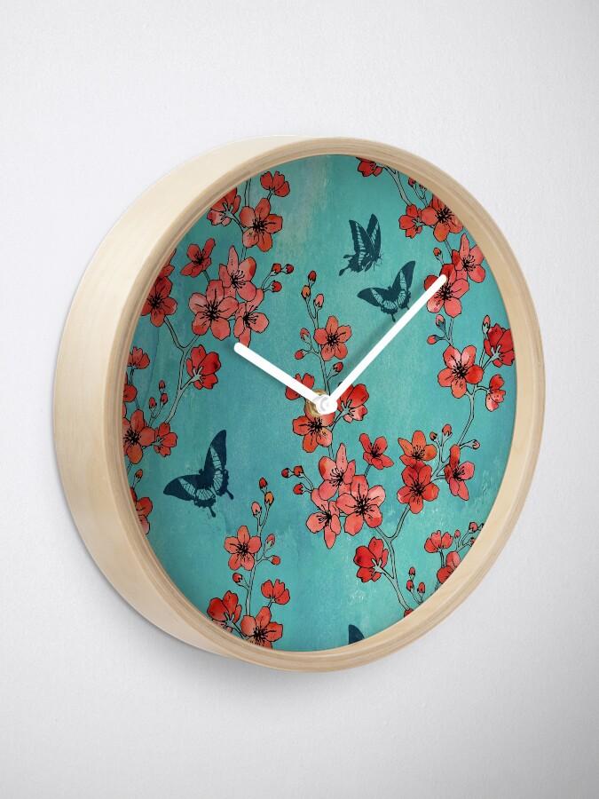 Alternate view of Sakura butterflies in turquoise Clock