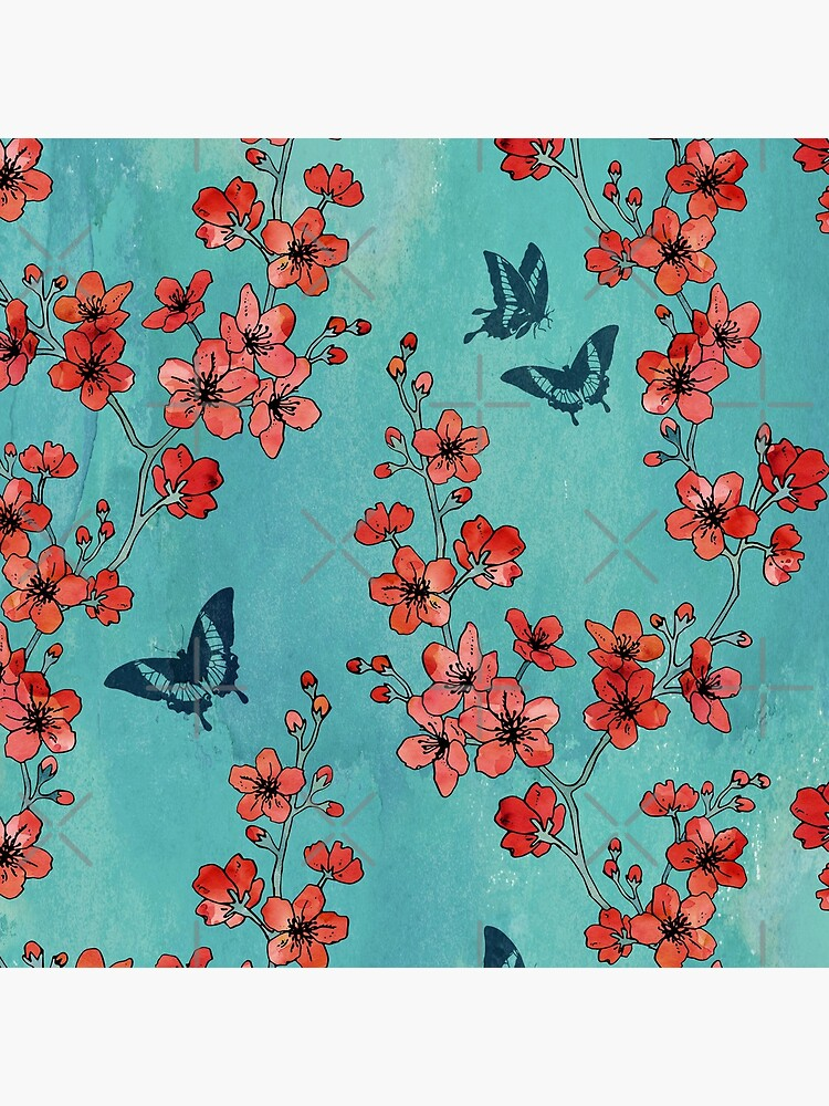 Sakura butterflies in turquoise by adenaJ