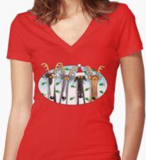 Camiseta entallada de cuello en V Cuernos de galgo (surtidos)