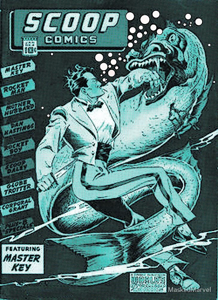 Golden Age Comic Hero Master Key vs the Sea Monster by MaskedMarvel
