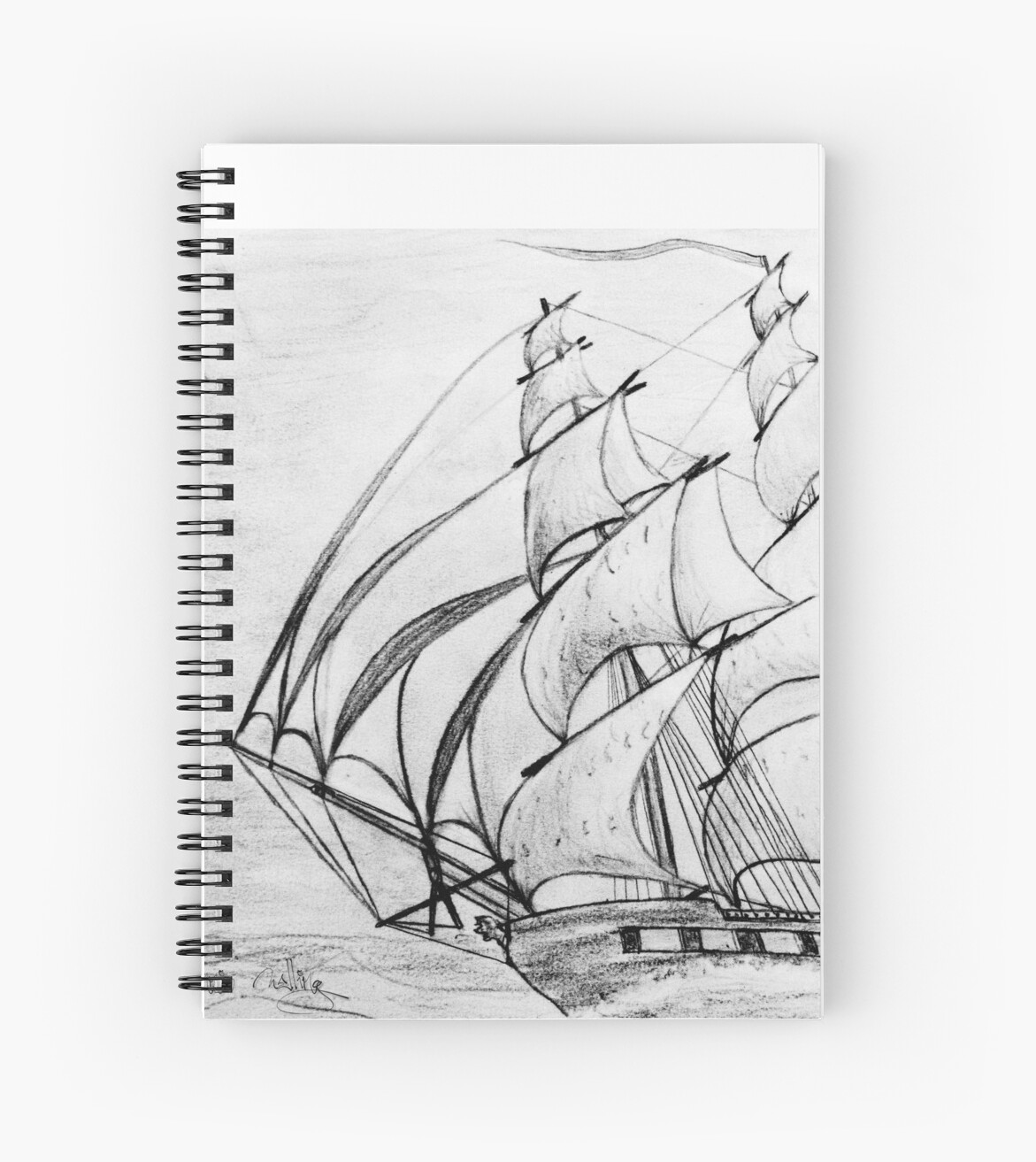 Graphite pencil drawing of a clipper ship at top speed 19th century