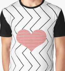 Abstract geometric pattern - heart - zigzag - black and red. Graphic T-Shirt