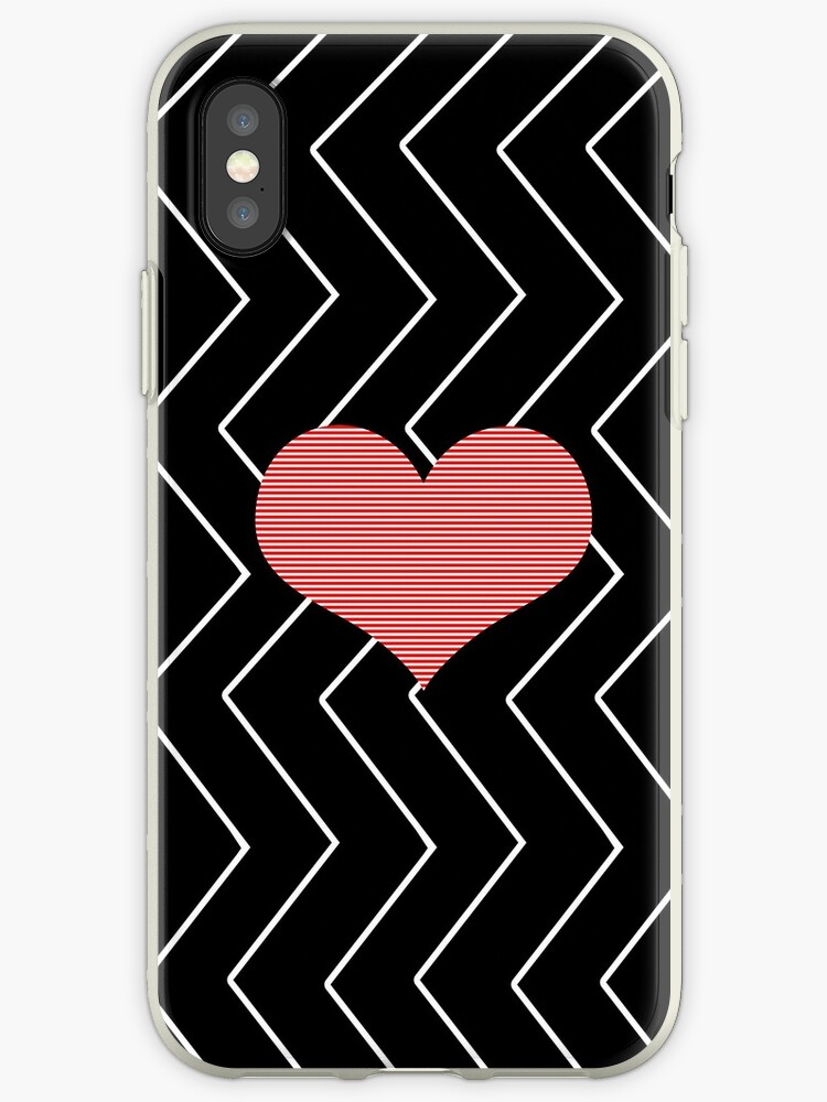 Abstract geometric pattern - heart - zigzag - black and red. by kerens