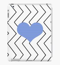 Abstract geometric pattern - heart - zigzag - black and blue. iPad Case/Skin