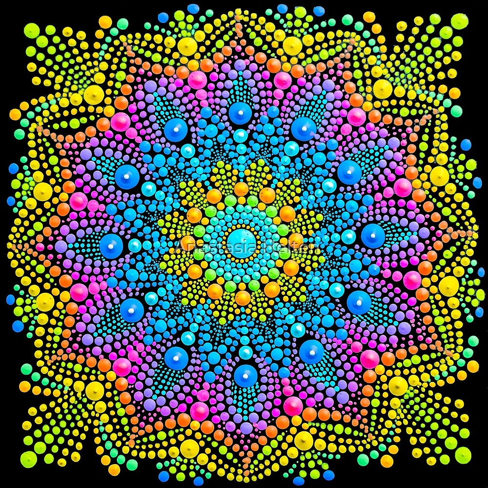 Mandala painting on canvas mini yellow by Anastasia Helten