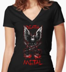 Death Metal - Eule Women's Fitted V-Neck T-Shirt