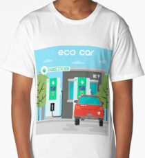 Electric Car. Eco Car on Charging Station. Green Energy. Electric Vehicle.  Long T-Shirt