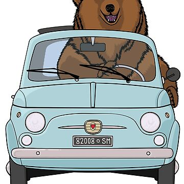Bear in a pale blue vintage Fiat 500 by Simut-P