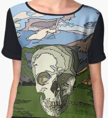 skull scape landcape cartoon Women's Chiffon Top