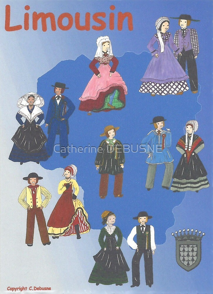 Traditional costumes from LIMOUSIN, France by Catherine DEBUSNE
