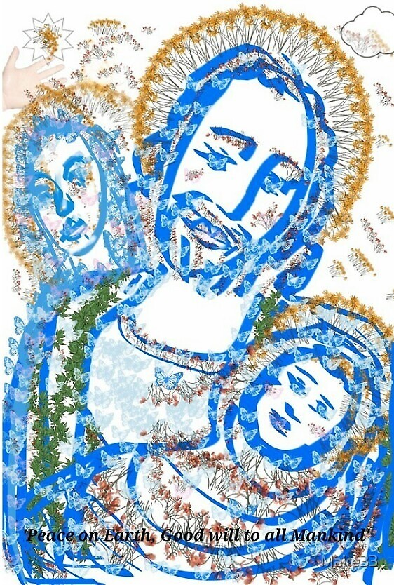 Holy Family In Blue 'Peace on Earth, Goodwill to Mankind' by Maire33