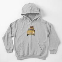 Brown bear driving a yellow retro Fiat 500 Kids Pullover Hoodie