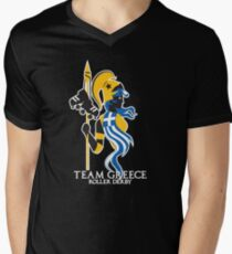 Team Greece Logo (Optimized for Black) Men's V-Neck T-Shirt