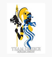 Team Greece Logo (Optimized for Black) Photographic Print