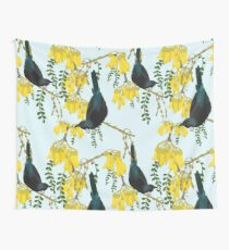 Tuis in the Kowhai Flowers Wall Tapestry