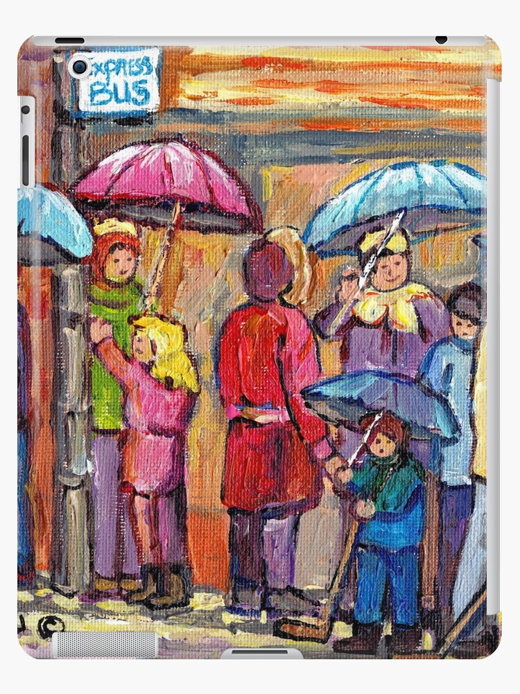 UMBRELLAS IN THE RAIN VERDUN STREET SCENE PEOPLE AT BUS STOP MONTREAL ART by Carole  Spandau