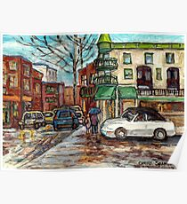CITY IN THE RAIN UMBRELLA COUPLE STROLL RUE ST VIATEUR MONTREAL QUEBEC ARTIST CAROLE SPANDAU CANADIAN ART Poster
