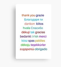 Thank you in different languages Canvas Print
