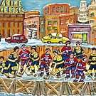 HOCKEY RINK CITY SCENE MONTREAL VERSUS BOSTON FIVE ROSES SIGN AND GUARANTEED MILK BOTTLE SKYLINE by Carole  Spandau
