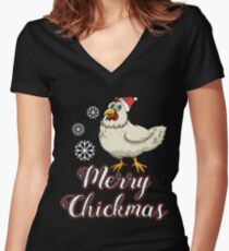 Merry Chickmas  Christmas  Chickenmas Shicker  Countryside  Southern Chicken  She's Beauty & Grace-01 T-Shirt Sweater Hoodie Iphone Samsung Phone Case Coffee Mug Tablet Case Gift Women's Fitted V-Neck T-Shirt