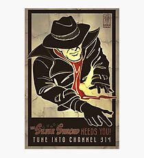 Fallout 4 The Silver Shroud Needs You Retro Poster 1 Photographic Print