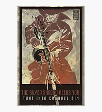 Fallout 4 The Silver Shroud Needs You Retro Poster 2 Photographic Print